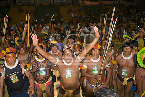 Altamira, Brazil. Encontro Xingu protest meeting about the proposed Belo Monte hydroeletric dam and other dams on the Xingu river and its tributaries. Pirakuma Yawalapiti, Tabata Kuikuro, Jakalo Kuikuro and Nafukua warriors protest.