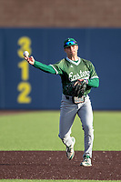 Eastern Michigan Eagles third baseman Devin Hager (23) makes a throw to first base during the NCAA baseball game against the Michigan Wolverines on May 8, 2019 at Ray Fisher Stadium in Ann Arbor, Michigan. Michigan defeated Eastern Michigan 10-1. (Andrew Woolley/Four Seam Images)