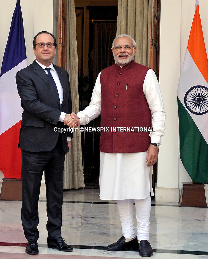 25.01.2016; Delhi, India: PRESIDENT HOLLANDE OF FRANCE AND INDIAN PM NARENDRA MODI<br /> meet at Hyderabad House, in Delhi.<br /> The French President in the guest of honour for the Republic Day celebrations on the 26th of January 2016.<br /> Mandatory Credit Photos: &copy;NEWSPIX INTERNATIONAL<br /> <br /> PHOTO CREDIT MANDATORY!!: NEWSPIX INTERNATIONAL(Failure to credit will incur a surcharge of 100% of reproduction fees)<br /> <br /> IMMEDIATE CONFIRMATION OF USAGE REQUIRED:<br /> Newspix International, 31 Chinnery Hill, Bishop's Stortford, ENGLAND CM23 3PS<br /> Tel:+441279 324672  ; Fax: +441279656877<br /> &quot;All fees payable to &quot;Newspix International&quot;<br /> e-mail: info@newspixinternational.co.uk