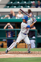 St. Lucie Mets shortstop J.C. Rodriguez (2) at bat during the first game of a doubleheader against the Lakeland Flying Tigers on June 10, 2017 at Joker Marchant Stadium in Lakeland, Florida.  Lakeland defeated St. Lucie 6-5 in fourteen innings.  (Mike Janes/Four Seam Images)