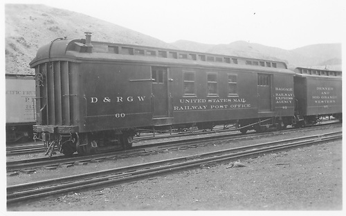 #60 RPO at Salida.<br /> D&amp;RGW  Salida, CO  Taken by Axt, Vernon - 7/1940