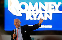 Bill Crutchfield, owner of Crutchfield Electronics, thanked the crowd for their support of Republican Vice Presidential nominee Paul Ryan before he took the stage during a campaign stop Thursday evening at the Crutchfield Corporation in Albemarle County, Va.