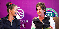 HAIKOU, CHINA - OCTOBER 28: Oscar-winning actress Catherine Zeta-Jones (L) and Solheim Cup's captain Rosie Jones of the USA attend a press conference during the Mission Hills Star Trophy on October 28, 2010 in Haikou, China. The Mission Hills Star Trophy is Asia's leading leisure liflestyle event and features Hollywood celebrities and international golf stars.  Photo by Victor Fraile / studioEAST