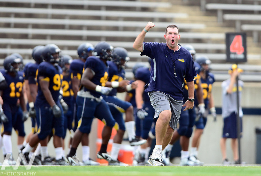Aug 15, 2012; Toledo, OH, USA; Toledo safeties coach Bryce Saia during practice at the Glass Bowl. Mandatory Credit: Andrew Weber-US Presswire