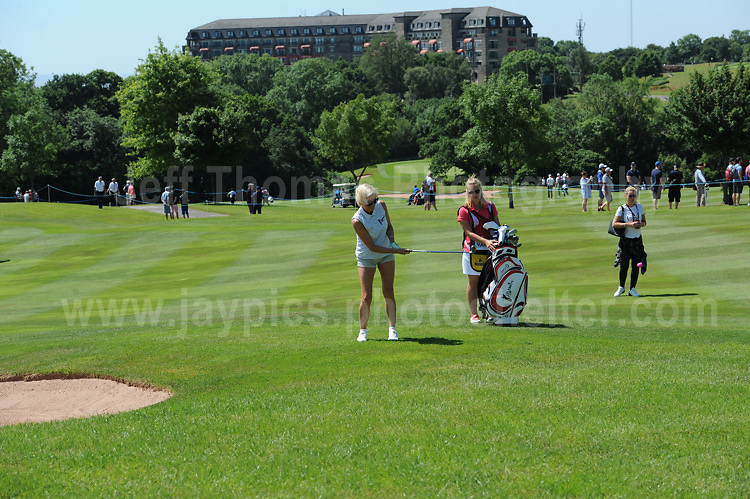 Actress and tv personality Denise Van Outen on the course with the Celtic Manor Resort hotel in the distance during The 2017 Celebrity Cup golf tournament at the Celtic Manor Resort, Newport, South Wales. 1.07.2017 <br /> <br /> <br /> Jeff Thomas Photography -  www.jaypics.photoshelter.com - <br /> e-mail swansea1001@hotmail.co.uk -<br /> Mob: 07837 386244 -