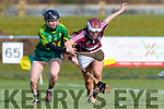 Rachel McCarthy Kerry in action against Caoimhe McCrossan Westmeath in the 2019 Camogie League Division 2 at John Mitchells GAA grounds in Tralee, on Sunday.
