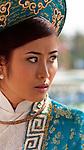 Vietnamese Bride 01 - Vietnamese bride wearing blue traditional ao dai, Hoi An, Viet Nam