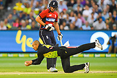 10th February 2018, Melbourne Cricket Ground, Melbourne, Australia; International Twenty20 Cricket, Australia versus England;  Ashton Agar of Australia dives for the ball