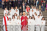 Students from Holy Family NS, Rathmore with Bishop Bill Murphy, Fr Larry Kelly, Fr Con Buckley and their Principal Diarmuid McCarthy after they made their Confirmation in Rathmore on Monday