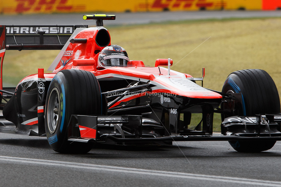 MELBOURNE, 16 MARCH - Max Chilton (GBR) from the Marussia F1 Team rounds turn six in free practice session three on day three of the 2013 Formula One Rolex Australian Grand Prix at the Albert Park Circuit in Melbourne, Australia. Photo Sydney Low / syd-low.com