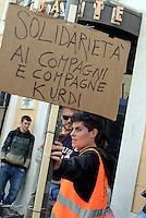 Roma, 1 Maggio 2016<br /> Oltre mille manifestanti hanno sfilato a Roma nei pressi dell'ambasciata turca per contestare l'accordo tra Ue e il governo di Erdogan sui migranti, che prevede il respingimento in territorio turco di chi entra illegalmente in Europa. I manifestanti hanno lanciato uova verso l'ambasciata, presidiata da molti agenti di polizia, e hanno chiuso le strade adiacenti l'ambasciata con salvagenti le tende  e il filo spinato. <br /> ROME, ITALY - MAY 01: <br /> Over a thousand protesters No Borders have marched in Rome near the Turkish embassy to contest the agreement between the EU and the Erdogan government on migrants, which provides in turkish territory refoulement of those who enter Europe illegally. The protesters threw eggs at the embassy, guarded by many police officers, and have closed roads beside the embassy with life jackets tents and barbed wire.