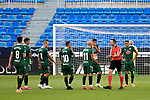 Players of Deportivo protest an referee decision La Liga Smartbank match round 39 between Malaga CF and RC Deportivo de la Coruna at La Rosaleda Stadium in Malaga, Spain, as the season resumed following a three-month absence due to the novel coronavirus COVID-19 pandemic. Jul 03, 2020. (ALTERPHOTOS/Manu R.B.)