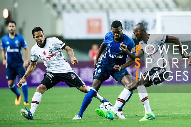 FC Schalke Forward Haji Wright (C) in action against Besiktas Istambul Midfielder Atiba Hutchinson (R) during the Friendly Football Matches Summer 2017 between FC Schalke 04 Vs Besiktas Istanbul at Zhuhai Sport Center Stadium on July 19, 2017 in Zhuhai, China. Photo by Marcio Rodrigo Machado / Power Sport Images