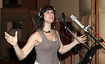 Stephanie J. Block recording the 2012 Original Broadway Cast Recording of 'The Mystery of Edwin Drood' at the KAS Music & Sound Studios in Astoria, New York on December 10, 2012