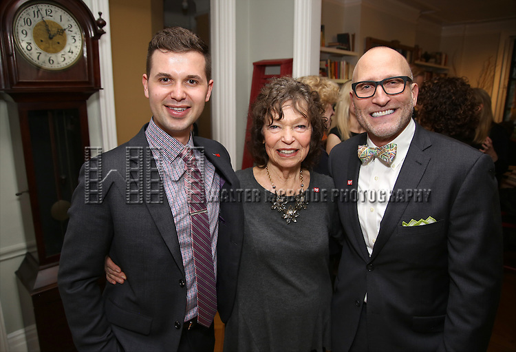 Seth Cotterman, Gretchen Cryer and  Joseph Bierman during the DGF Salon with Lisa Kron at the home of Gretchen Cryer on May 2, 2016 in New York City.