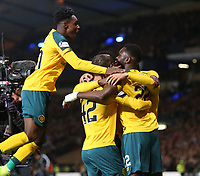 2nd November 2019; Hampden Park, Glasgow, Scotland; Scottish League Cup Football, Hibernian versus Celtic; Jeremy Frimpong and Mohamed Elyounoussi of Celtic celebrates after heads Celtic into the lead in the 17th minute making it 1-0 - Editorial Use