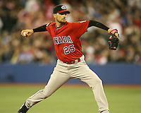 March 7, 2009:  Pitcher Mike Johnson (25) of Canada during the first round of the World Baseball Classic at the Rogers Centre in Toronto, Ontario, Canada.  Team USA defeated Canada 6-5 in both teams opening game of the tournament.  Photo by:  Mike Janes/Four Seam Images
