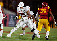 LOS ANGELES, CA - SEPTEMBER 8: Stanford Cardinal freshman offensive tackle Walter Rouse #75 provides pass protection during a game between USC and Stanford Football at Los Angeles Memorial Coliseum on September 7, 2019 in Los Angeles, California.