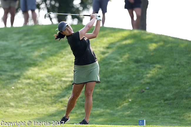SIOUX FALLS, SD - SEPTEMBER 3: Nicole Sakamoto hits her tee shot on the 4th hole during the final round of the 2017 Great Life Challenge Symetra Tour stop at Willow Run in Sioux Falls.  (Photo by Dave Eggen/Inertia)