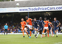 Blackpool's Sullay Kaikai lines up a header towards goal<br /> <br /> Photographer Rob Newell/CameraSport<br /> <br /> The EFL Sky Bet Championship - Southend United v Blackpool - Saturday 10th August 2019 - Roots Hall - Southend<br /> <br /> World Copyright © 2019 CameraSport. All rights reserved. 43 Linden Ave. Countesthorpe. Leicester. England. LE8 5PG - Tel: +44 (0) 116 277 4147 - admin@camerasport.com - www.camerasport.com