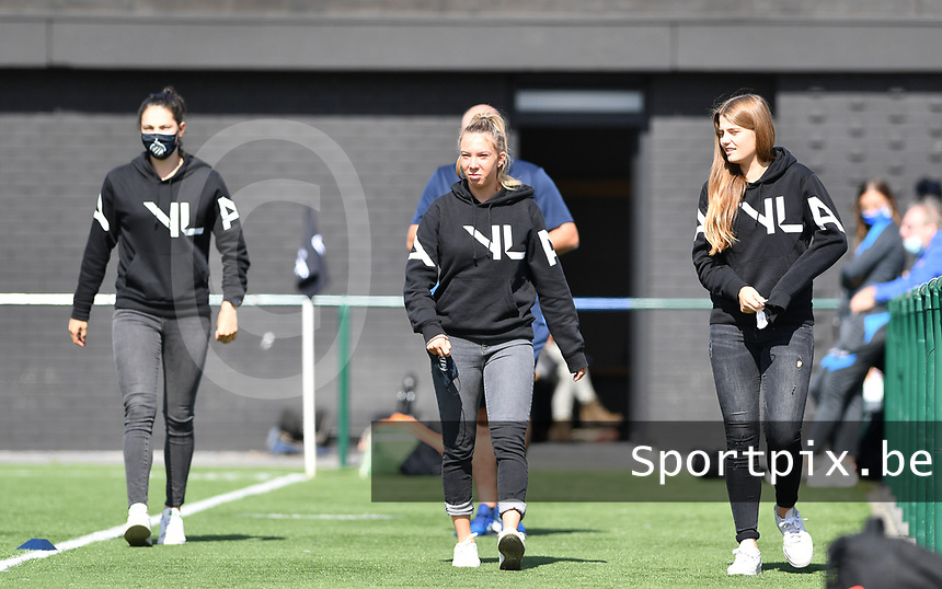 Brugge's Frieke Temmerman , Brugge's Talitha De Groote and Brugge's Raquel Viaene pictured during a female soccer game between Club Brugge Dames YLA and Racing Genk Ladies on the second matchday of the 2020 - 2021 season of Belgian Scooore Women s SuperLeague , saturday 5 th of September 2020  in Brugge , Belgium . PHOTO SPORTPIX.BE | SPP | DAVID CATRY