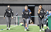 Brugge's Frieke Temmerman , Brugge's Talitha De Groote and Brugge's Raquel Viaene pictured during a female soccer game between Club Brugge Dames YLA and Racing Genk Ladies on the second matchday of the 2020 - 2021 season of Belgian Scooore Women s SuperLeague , saturday 5 th of September 2020  in Brugge , Belgium . PHOTO SPORTPIX.BE   SPP   DAVID CATRY