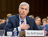 Judge Neil Gorsuch testifies before the United States Senate Judiciary Committee on his nomination as Associate Justice of the US Supreme Court to replace the late Justice Antonin Scalia on Capitol Hill in Washington, DC on Tuesday, March 21, 2017.<br /> Credit: Ron Sachs / CNP