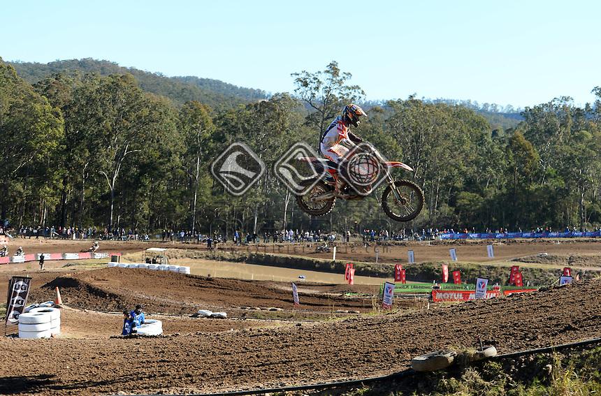 Hamish Harwood / KTM<br /> MX Nationals / Round 6 / MX2<br /> Australian Motocross Championships<br /> Raymond Terrace NSW<br /> Sunday 5 July 2015<br /> &copy; Sport the library / Jeff Crow
