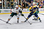 26 January 2019:  University of Vermont Catamount Forward Joey Cipollone, a Freshman from Purchase, NY, takes the puck from Merrimack College Warrior Forward Chase Gresock, a Freshman from Powell, Ohio, during second period action at Gutterson Fieldhouse in Burlington, Vermont. The Catamounts defeated the Warriors 4-3 in overtime to take both games of their weekend America East conference series. Mandatory Credit: Ed Wolfstein Photo *** RAW (NEF) Image File Available ***
