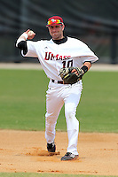 UMass Josh Messier #10 during a game vs Indiana Hoosiers at Lake Myrtle Main Field in Auburndale, Florida;  March 16, 2011.  Indiana defeated UMass 11-10.  Photo By Mike Janes/Four Seam Images