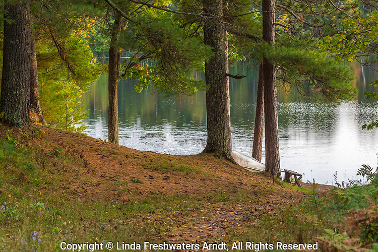 An old rowboat rests on the shore of Blue Gill Lake in northern Wisconsin.