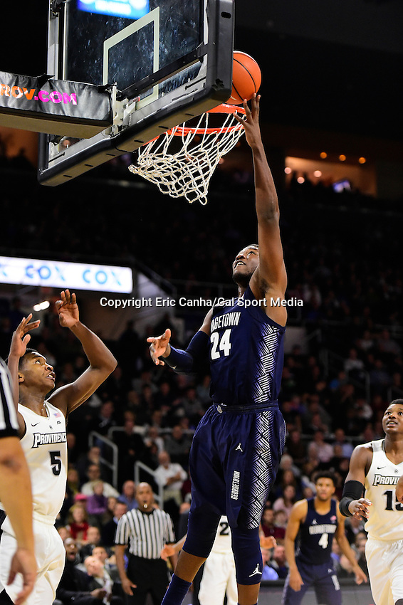 Wednesday, January 4, 2016: Georgetown Hoyas forward Marcus Derrickson (24) takes the ball to the net during the NCAA basketball game between the Georgetown Hoyas and the Providence Friars held at the Dunkin Donuts Center, in Providence, Rhode Island. Providence defeats Georgetown 76-70 in regulation time. Eric Canha/CSM