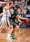 BROOKINGS, SD - JANUARY 31:  Brooke LeMar #4 from North Dakota State University looks for help while being pressured by KerriYoung #10 from South Dakota State University in the first half of their game Saturday afternoon at Frost Arena in Brookings. (Photo by Dave Eggen/Inertia)