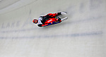 7 February 2009:  Daniel Pfister slides for Austria finishing third in the Men's Competition with a combined time of 1:45.037 at the 41st FIL Luge World Championships, in Lake Placid, New York, USA. .  .Mandatory Photo Credit: Ed Wolfstein Photo