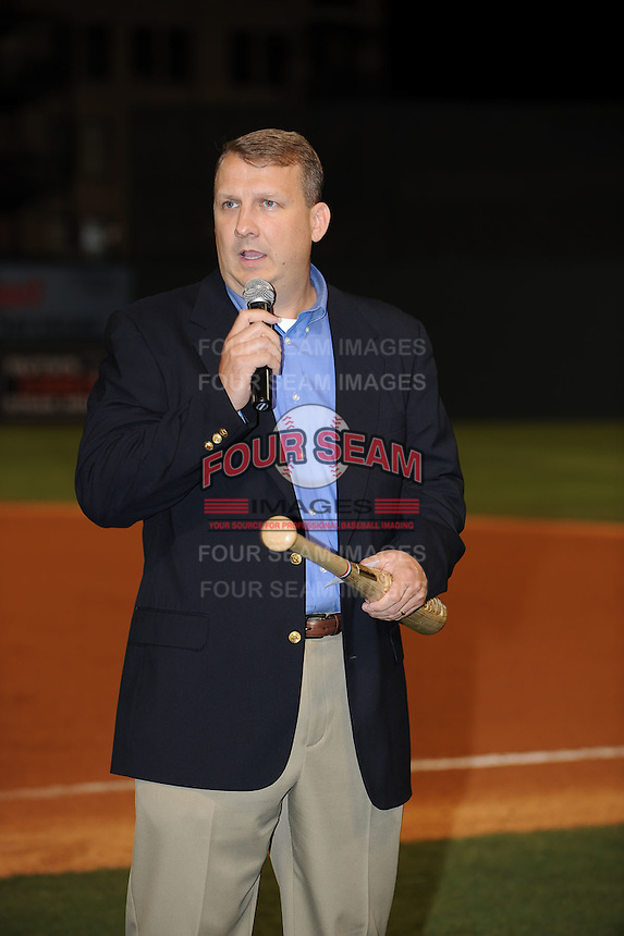 Eric Krupa President of the South Atlantic League speaks during South Atlantic League All Star Game at Fluor Field in Greenville, South Carolina June 22, 2010.   The game ended in a 5-5 tie.  Photo By Tony Farlow/Four Seam Images