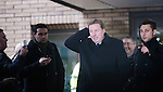 Harry Redknapp and Milan Mandaric tax evasion trial - juror considering verdicts today 8.2.12.Harry Redknapp fights his way to his car after being acquitted mobbed by well-wishers and press..Son Jamie is behind and spurs press officer Simon Felstein to right of Harry....Pic by Gavin Rodgers/Pixel 8000 Ltd