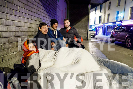 Jeffrey Foley with homeless people in Edward Street Tralee on Saturday night.