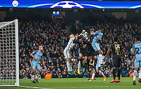 Goalkeeper Wilfredo Caballero of Manchester City clears danger during the UEFA Champions League GROUP match between Manchester City and Celtic at the Etihad Stadium, Manchester, England on 6 December 2016. Photo by Andy Rowland.