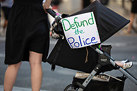 A sign secured to a childís stroller during a march against police brutality and racism in Washington, D.C. on Saturday, June 6, 2020.<br /> Credit: Amanda Andrade-Rhoades / CNP/AdMedia