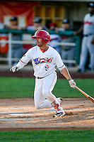 Zach Gibbons (9) of the Orem Owlz at bat against the Billings Mustangs in Pioneer League action at Home of the Owlz on July 25, 2016 in Orem, Utah. Orem defeated Billings 6-5. (Stephen Smith/Four Seam Images)