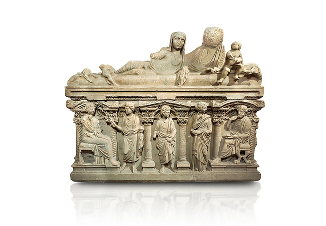 "Roman relief sculpted sarcophagus of Aurelia Botiano and Demetria depicted reclining on the lid, 2nd century AD, Perge Inv 1.35.99. Antalya Archaeology Museum, Turkey.<br /> <br /> it is from the group of tombs classified as. ""Columned Sarcophagi of Asia Minor"". The lid of the sarcophagus is sculpted into the form of a ""Kline"" style Roman couch on which lie Julianus &  Philiska. This type of Sarcophagus is also known as a Sydemara Type of Tomb.. Against a white background."