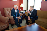 United States Vice President-elect Mike Pence meets incoming US Senate Minority Leader Chuck Schumer (Democrat of New York) in his Capitol Hill office in Washington, DC on Thursday, November 17, 2016.<br />