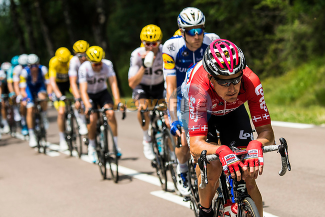 Lars Ytting Bak (DEN) Lotto-Soudal on the front of the peloton during Stage 7 of the 104th edition of the Tour de France 2017, running 213.5km from Troyes to Nuits-Saint-Georges, France. 7th July 2017.<br /> Picture: ASO/Alex Broadway | Cyclefile<br /> <br /> <br /> All photos usage must carry mandatory copyright credit (&copy; Cyclefile | ASO/Alex Broadway)