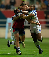 Bristol Bears' Luke Daniels is tackled by Bath Rugby's Semesa Rokoduguni<br /> <br /> Photographer Bob Bradford/CameraSport<br /> <br /> Gallagher Premiership - Bristol Bears v Bath Rugby - Friday August 31st 2018 - Ashton Gate - Bristol<br /> <br /> World Copyright © 2018 CameraSport. All rights reserved. 43 Linden Ave. Countesthorpe. Leicester. England. LE8 5PG - Tel: +44 (0) 116 277 4147 - admin@camerasport.com - www.camerasport.com