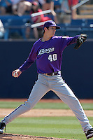 Trey Teakell #40 of the TCU Horned Frogs pitches against the Cal State Fullerton Titans at Goodwin Field on February 26, 2012 in Fullerton,California. Fullerton defeated TCU 11-10.(Larry Goren/Four Seam Images)