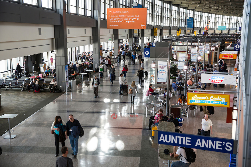 Austin–Bergstrom International Airport concourse offers a treasure trove of local gourmet food favorites from the country's best barbecue to Tex-Mex highlighting legendary Austin restaurants offering to satisfy the most discriminating palates - Stock Image.