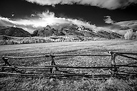 Infrared image of Teton Mountain Range in Teton National Park, Jackson Wyoming.