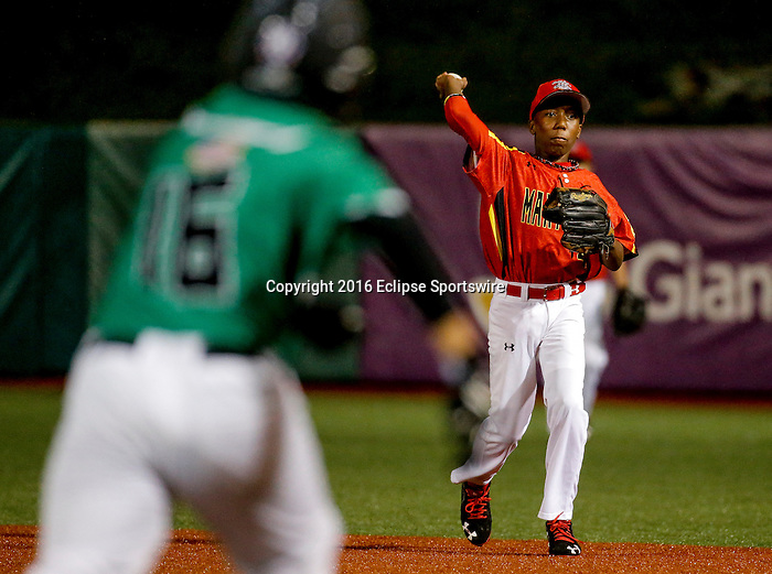 ABERDEEN, MD - AUGUST 01: Virgil Watson #4 of Bel Air (MD) throws to 1st base to force out Chance Otsuka #16 of Honolulu (HI) in the 2nd inning during a game between Pacific Southwest and Maryland during the Cal Ripken World Series at The Ripken Experience Powered by Under Armour on August 1, 2016 in Aberdeen, Maryland. (Photo by Ripken Baseball/Eclipse Sportswire/Getty Images)