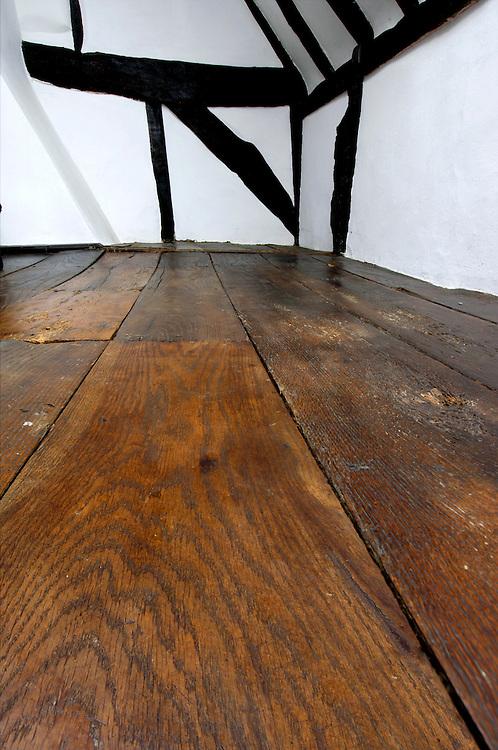 oak floorboards and oak frame in 17th century cottage