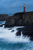 Butt of Lewis lighthouse on cliffs above stormy sea, Butt of Lewis, Isle of Lewis, Western Isles, Scotland